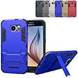 Galaxy S6 Case - Cellularvilla Hard Soft Hybrid Armor Heavy Duty Rugged Shockproof Case Cover with Built-in Kickstand...