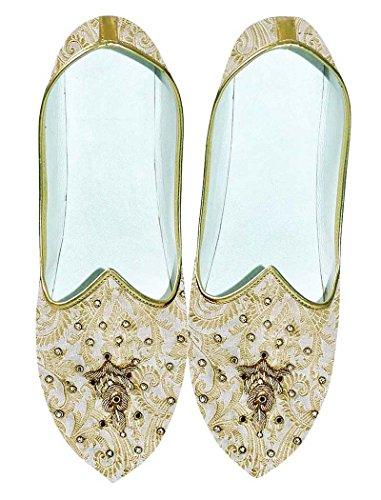 INMONARCH Crema de Hombres y Dorado Boda Zapatos Bordado MJ0707