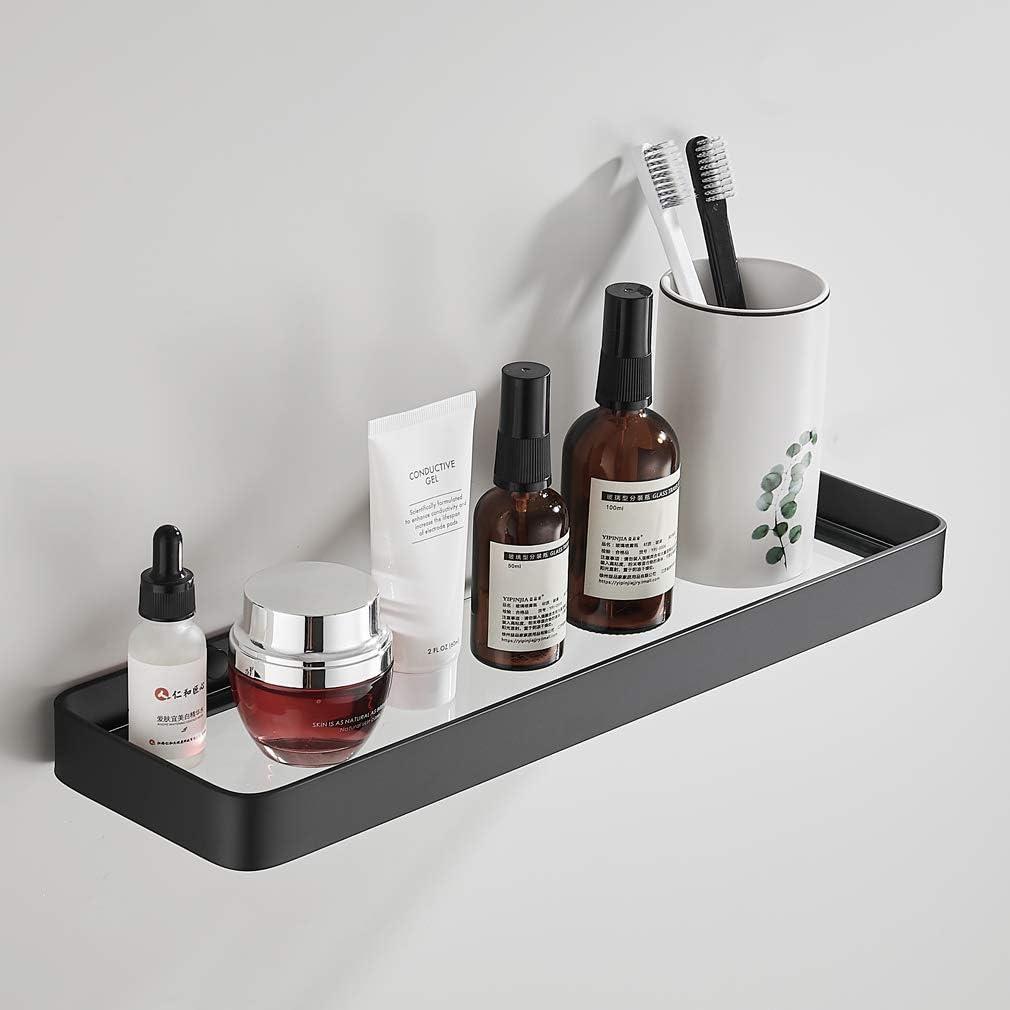 SIMVE 15.7 Inch Bathroom Tempered Glass Shower Shelf,Wall Mounted Aluminum Bath Basket Organizer,Kitchen Rectangular Vanity Rack,Over Toilet Storage Cabinet,Matte Black
