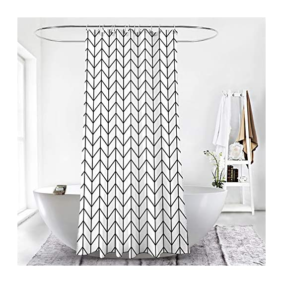 "AmazerBath Fabric Shower Curtain, Black Herringbone Pattern Polyester Fabric Shower Curtains with 2 Heavy Duty Clear Stones, Decorative Curtains for Bathroom, Hotel Quality, 72 X 72 Inches - PREMIUM QUALITY - Made of 100% polyester fabric. Feels soft and comfortable. Water repellent and odorless. The 120 GSM (gram per square meter) shower curtain is 100g heavier than the same size 91 Gsm shower curtains of other brands. 2 HEAVY DUTY CLEAR STONES: Heavy duty clear stones on bottom corners make the item get more weight to reduce curtain blowing. REINFORCED METAL HOLES - 12 rust-resistant metal grommets fit most curtain hooks. The 72""x72"" curtain fits most standard-sized bathtubs and showers. - shower-curtains, bathroom-linens, bathroom - 51B5OwAm4JL. SS570  -"