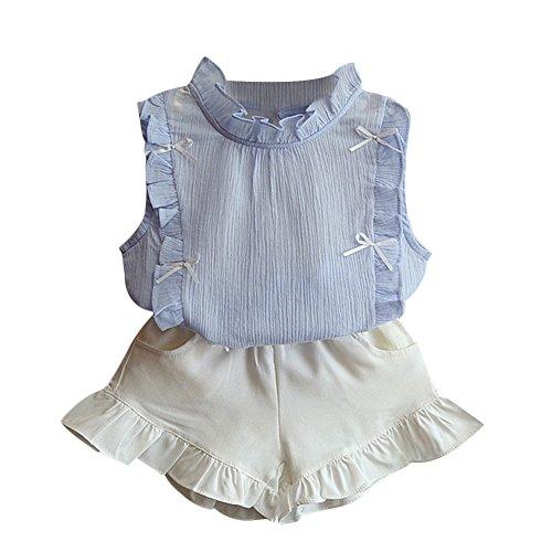 Chiffon Flounce - Verypoppa Baby Girls Flounce Sleeveless Blouse + Shorts Outfits (2-3 Years, Blue)
