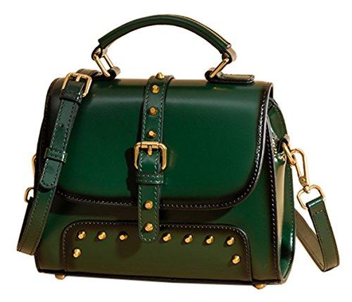 y hombro Piel SAIERLONG Genuina bolsos Shoppers Verde Negro de Nueva Oscuro Mujer zxxnBAwS7