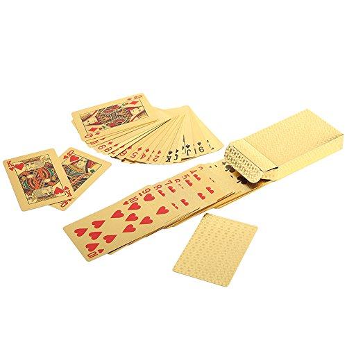 Luxury 24KゴールドFoil Poker Playing Cards Deck防水ゴールドプラスチックカードwithボックスポーカーテーブルゲームギフトIdea ベージュ Vbestlife3q7pi5wuag-03