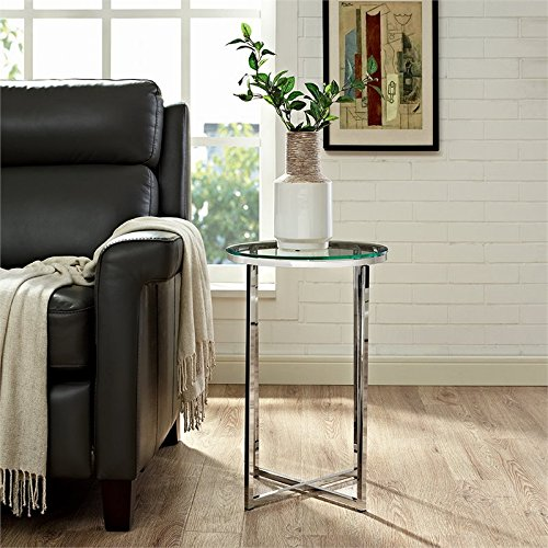 WE Furniture AZF16ALSTGCR Glass Side Table, Glass/Chrome