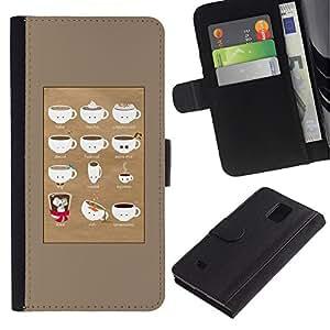 All Phone Most Case / Oferta Especial Cáscara Funda de cuero Monedero Cubierta de proteccion Caso / Wallet Case for Samsung Galaxy Note 4 IV // Barista Cup Brown Caf?