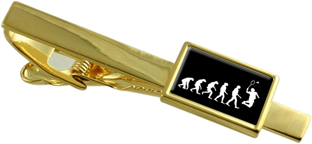 Select Gifts Evolution Ape to Man Badminton Sport Gold-Tone Tie Clip Engraved Message Box