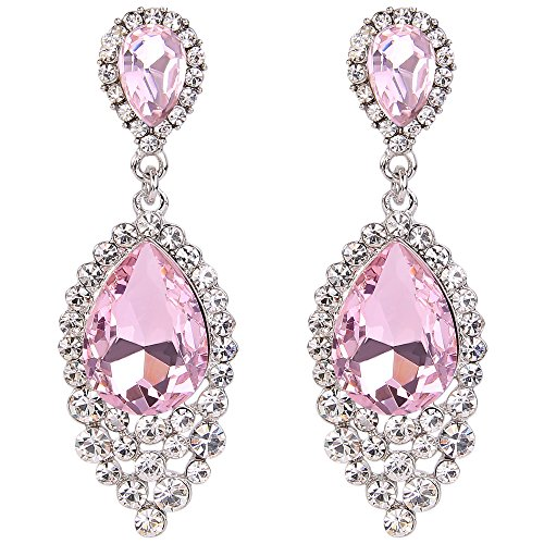 BriLove Wedding Bridal Dangle Earrings for Women Crystal Teardrop Cluster Beads Chandelier Earrings Pink Tourmaline Color Silver-Tone