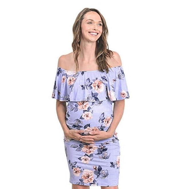 ffd111e7a8 Jimmackey Premaman Abbigliamento Casual Vestito Donna Gravidanza Eleganti  Estivi off Spalla Vestiti Stampa Allattamento Premaman Monospalla