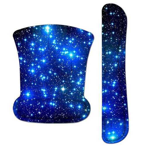 HAPLIVES Ergonomic Keyboard Wrist Rest Pad and Mouse Pad Wrist Support Set with Non-Slip Backing Memory Form-Filled, Easy-Typing and Pain Relief for Gaming Office Computer Laptop (Blue Starry Sky)
