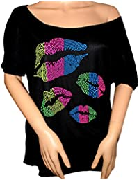 Rhinestone 80's Clothes for Women 1980s Neon Kiss Lips Slouchy Tee Shirt