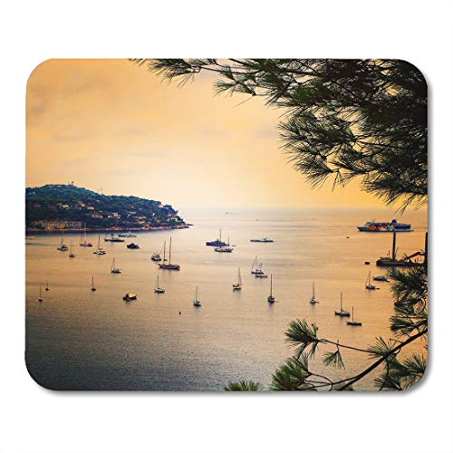 Boszina Mouse Pads Panoramic View of Coastline and Beach Luxury Resort Bay with Yachts Nice Port Villefranche Sur Mer Cote Mouse Pad 9.5
