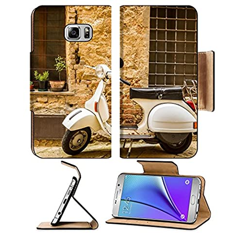 MSD Premium Samsung Galaxy Note 5 Flip Pu Leather Wallet Case Note5 IMAGE 22586149 Vintage scene with Vespa on old - Vespa Cable