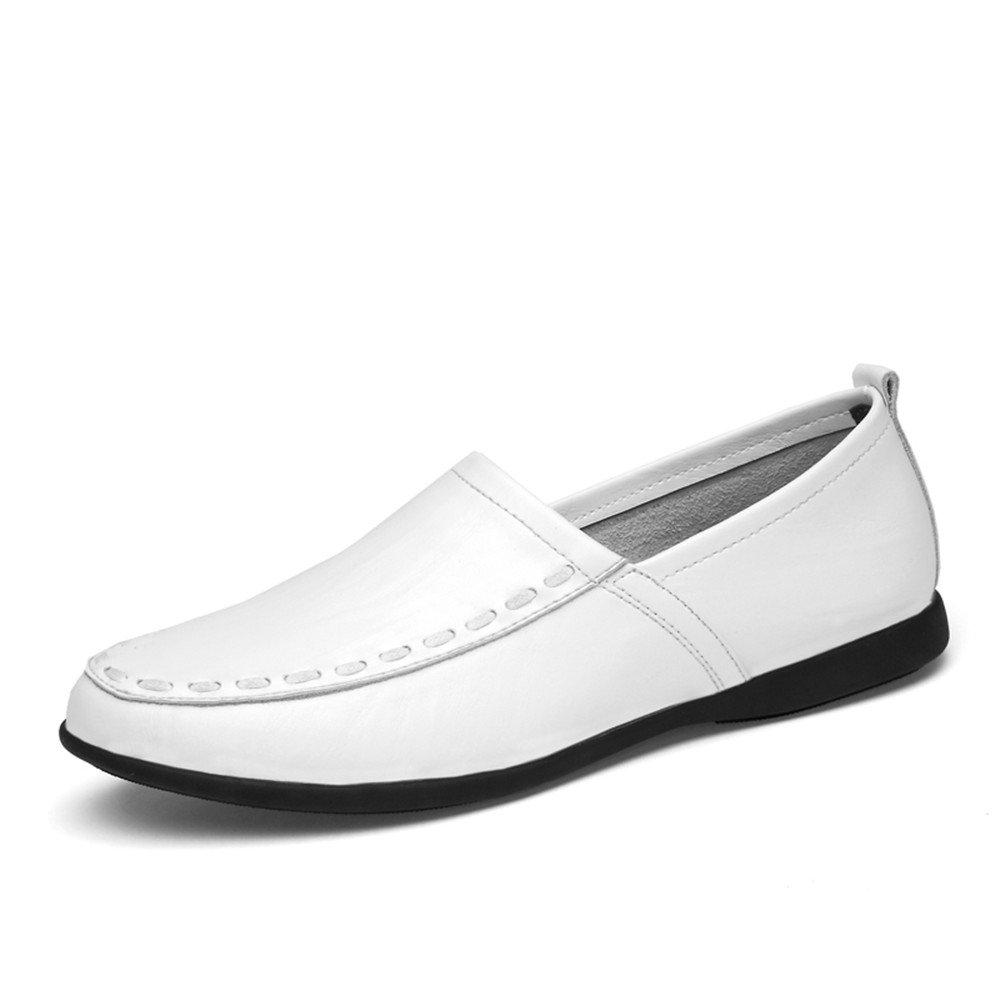 Mocasines de Cuero Genuino de los Hombres Slip on Suede Plantilla Loafer 37 EU|Blanco