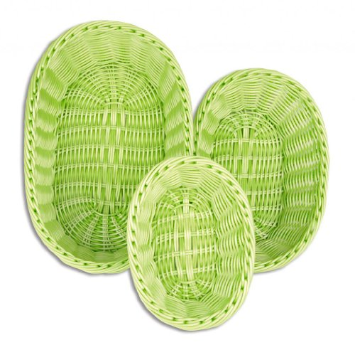Hand Woven Oval Basket (Colorbasket 51301-202 Hand Woven Waterproof Oval Basket, Lime Green, Gift Box, Set of 3)