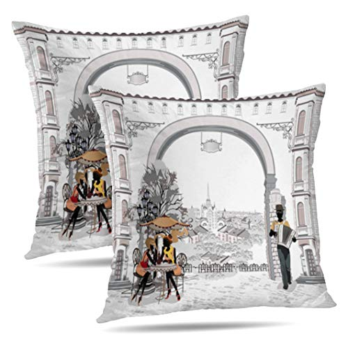 (Alricc Set of 2 Series Streets with People Old City Street City Watercolor Woman Decorative Throw Pillows Cushion Cover for Bedroom Sofa Living Room 18X18)