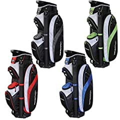 This cart bag from Prosimmon Golf offers a 14 way divider top, perfect for keeping your clubs perfectly organized and exactly where you expect them to be.  14 way dividers  Plenty of zippered pockets including:  1 deep ball pocket  1 small ac...