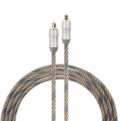 Optical Audio Cable , Mayfan SPDIF 5.0mm Toslink Male to Male Digital Braided Fiber Optic Audio Cable Cord with Copper Metal Connectors - 26 Feets ( 8 meters)