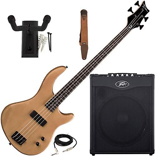 Dean Edge 09 Natural Bass Guitar, Peavey Max 115 Amp, Suede Strap, Hanger