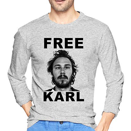 Men's Free - Karl Basic Shirts T Shirt Long Sleeve T-Shirt Round Neck Cotton Sport Tops Gray 30
