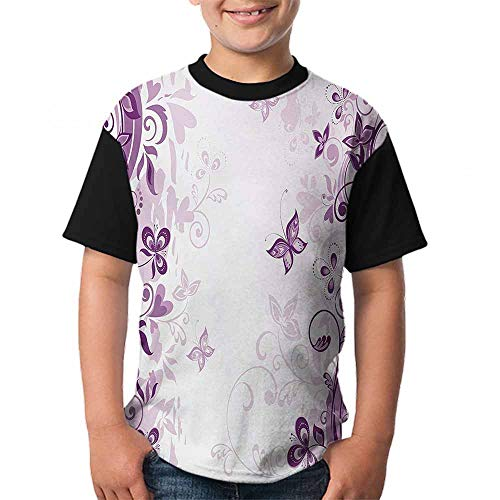 Butterfly Round Neck T-Shirt Illustration of Fairy Butterflies with Swirling Flowers Silhouette Floral Design Art Size:M Violet - Fairy Butterfly T-shirt