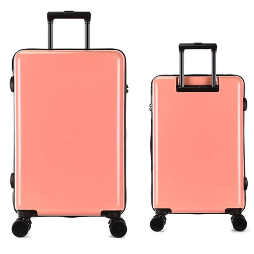 スーツケース 軽量セットTSAロックローテーター旅行荷物トロリースーツケースキャリーコラム垂直サイレントローテーター多方向航空機搭乗 週末にスーツケースを運ぶ (色 : ピンク, サイズ : 20in+24in) B07SYNM6PG