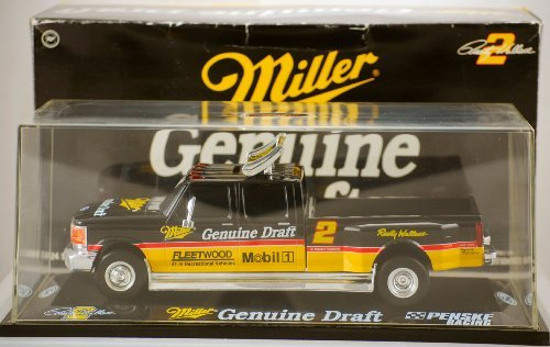 Action - Platinum Series - 1995 Ford 350 Dually - Penske Racing - Rusty Wallace #2 - Miller Genuine Draft - 1:24 Scale Die Cast - w/ Display Case - Limited Edition (Nascar Stock Car Limited Edition)