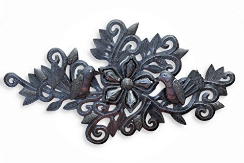 Artistic Plaque Metal - Metal Birds and Flowers, Wall Decor, Indoor and Outdoor Plaques, Artistic Craftsmanship 9.5