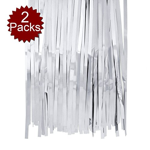 (Aspire Foil Fringe Curtain (Set of 2) Metallic Photo Booth Tinsel Backdrop Door Curtains - Perfect for Christmas & New Years Eve)