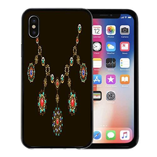 (Emvency Phone Case for Apple iPhone Xs case,Red Boho Ethnic Gold Necklace Semiprecious Stones Carnelian Turquoise Lapis Lazuli Gems on Gemstone for iPhone X Case,Rubber Border Protective Case,Black)