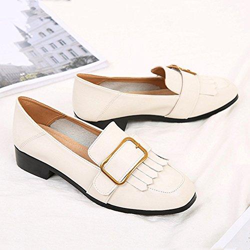 T-july Mujeres Tassel Slip-on Oxfords Loafer Zapatos Retro Moda Casual Caminar Zapatos Planos Blanco