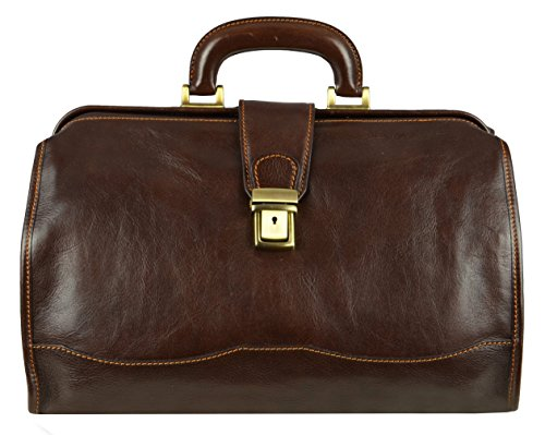 Leather Doctor Bag, Medical Bag, Dark Brown - Time Resistance