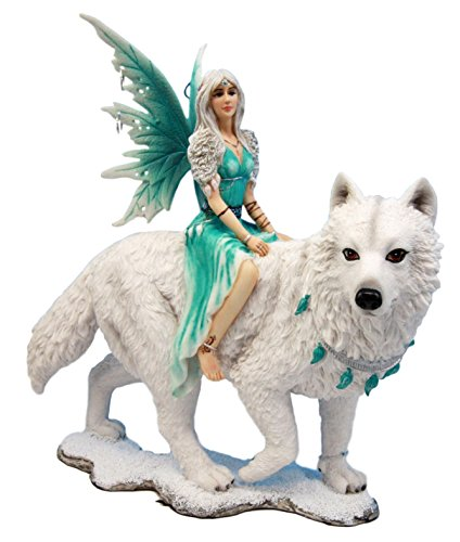 "Atlantic Collectibles Elektra Blue Ice Fairy Riding Giant Snow Wolf King Rumba Figurine 8""H"