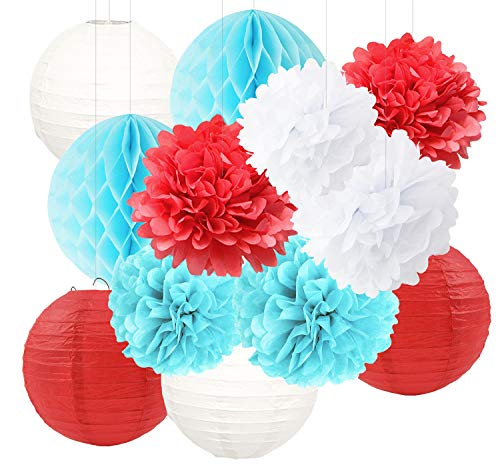 Dr Seuss Centerpieces (Dr Seuss Cat in The Hat Party/Dr Suess Decor Blue White Red Tissue Paper Flower Paper Lanterns Honeycomb Balls/Dr. Seuss Birthday Decorations/Circus Carnival Party Decorations/Turquoise Red)