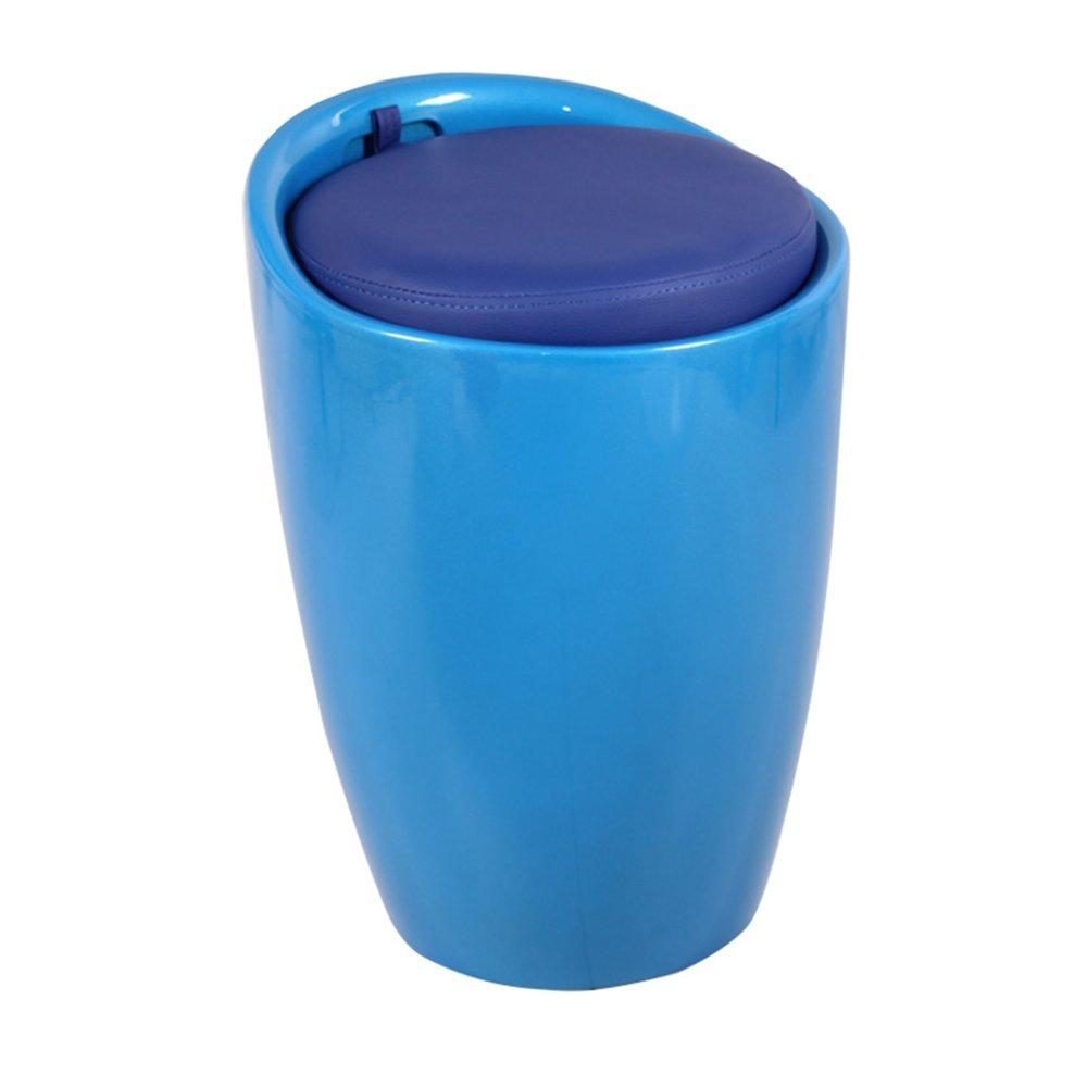 光沢ABS隠しストレージスツールシートタブスツールトイボックスランドリーバスケット ( 色 : 青 ) B07BJG8D4X 青 青