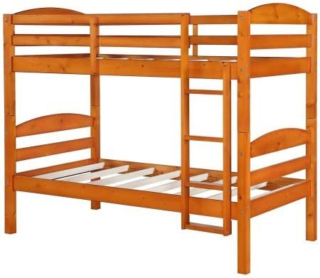 Better Homes and Gardens Leighton Twin Over Twin Wood Bunk Bed 1.Pine