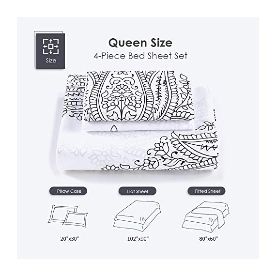 Agedate 4 Piece Brushed Microfiber Bed Sheets Set, Deep Pocket Bed Sheets Queen, Hypoallergenic, Easy to Care, Fade, Stain and Wrinkle Resistant, Queen Size, White and Black Paisley Patterned - ★〖100% Brushed Microfiber〗: Our brushed microfiber sheets are composed of extremely fine fibers of polyester, which are ultra-breathable, ultra-soft and affordable, offer you a luxury hotel-like sweet sleep experience, no more sweaty and sleepless nights. ★〖Breathable and Hypoallergenic〗: We pursue the best and adopt premium microfiber fabric which is mild and non-itching to the skin, free from stimulation, an ideal choice for allergy sufferers. ★〖Durable and Colorfast〗: Using the newest stitching technology, the sheets have high density and exquisite seam which make it will not shrink or pill. Owing silky elegant luster and higher color fastness than cotton fabrics, our bed sheet set is a great gift idea for men and women, Moms and Dads, Valentine's - Mother's - Father's Day and Christmas. - sheet-sets, bedroom-sheets-comforters, bedroom - 51B5S YbCvL. SS570  -