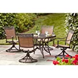 Brown Modern 5 Piece Cast Aluminum Sling Patio Dining Set | Perfect Contemporary Rust Resistant 4 Swivel Rocker Dining Chairs and a 48 inch Round Table Furniture Set for Your Home Outdoors by the BBQ Grill, Gazebo, Deck, Garden or Firepit Review