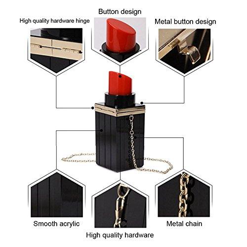 de banquete forma Mujeres lapiz acrilico rojo embrague Vintage negro noche labial de bolso bolsos bolsos SODIAL xXF6wpqq