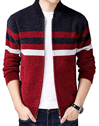 HOW'ON Men's Casual Wide Stripes Zipper Knitted Cardigan Sweater Red L