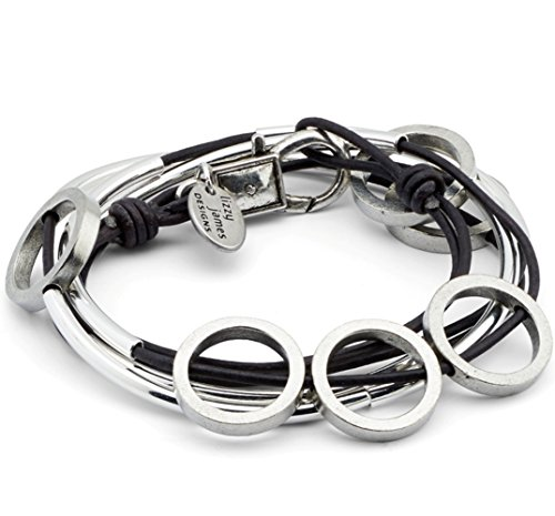Small Circle Bracelet - Circle Silverplated 2 Strand Natural Pacific Leather Wrap Bracelet (Small (5 7/8