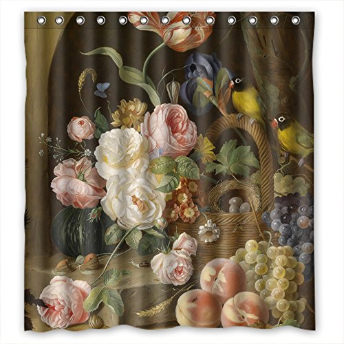 Price comparison product image MaSoyy Polyester Bath Curtains Of Famous Classic Art Painting Flowers Blossoms For Gf Boys Bf Lover Boys. Water Repellent Width X Height / 72 X 72 Inches / W H 180 By 180 Cm(fabric)