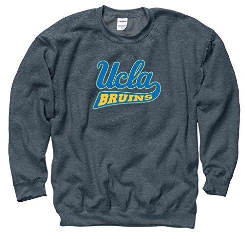 - UCLA Script Mens Crew Neck Sweatshirt-Charcoal (Charcoal, S)