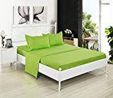 Clearance, Kuality Brushed Microfiber Bedding 3PC, Wrinkle,Stain & Fade Resistant Easy Care Soft Solid Color Bed Sheet Set(1 Fitted Sheet, 1 Flat Sheet, 1 Pillow Cases/Shams), Twin Size, Neon Green