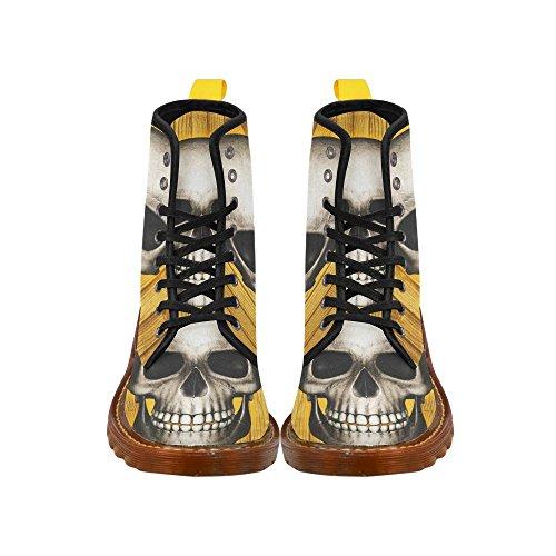 Leinterest Crâne Sur Des Planches En Bois Martin Bottes Mode Chaussures Pour Hommes