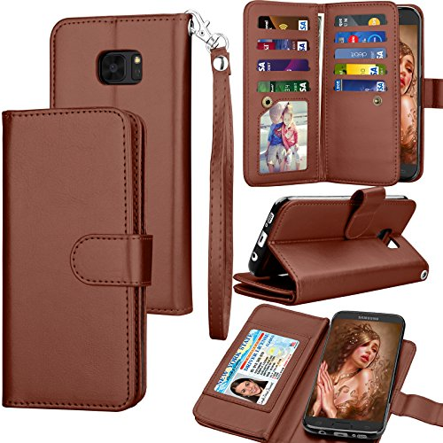 Tekcoo for Galaxy S7 Edge Case / S7 Edge Wallet Case, Cash Credit Card Slots Holder Purse Carrying PU Leather Folio Flip Cover [Detachable Magnetic Hard Case] & Kickstand for Samsung S7 Edge - Brown