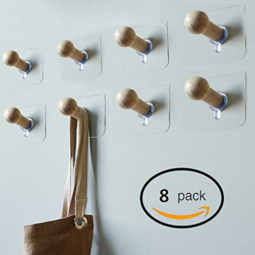 Sendida 3M Adhesive Wall Hooks - 8 Pack No Drills Wooden Hat Hooks Storage Wall Mounted Coat Hanging Hook for Coat Towel Hat Key Robe Hooks On Door Wardrobe - Scratched Glass Can You Repair