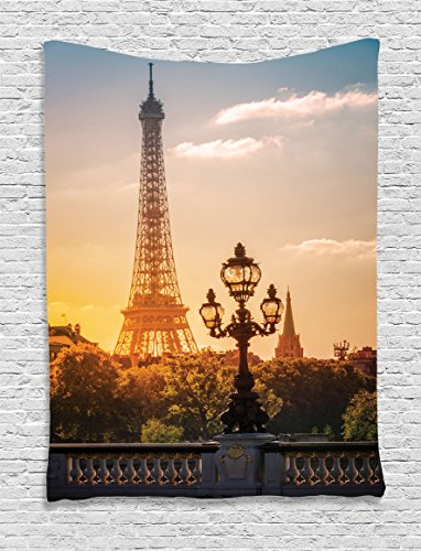 Ambesonne Wanderlust Decor Collection, Street Lantern on the Alexandre Iii Bridge Against the Eiffel Tower in Paris France Picture, Bedroom Living Room Dorm Wall Hanging Tapestry, Blue - Alexandre Iii Bridge