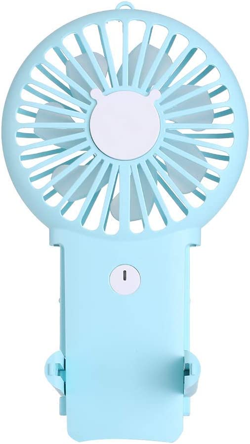 Aluan Handheld Fan Mini Portable Fan Powerful Small Personal Fans Speed Adjustable Rechargeable Battery Operated Eyelash Fan for Kids Woman Man Indoor Outdoor Travel Cooling with Lanyard, Blue