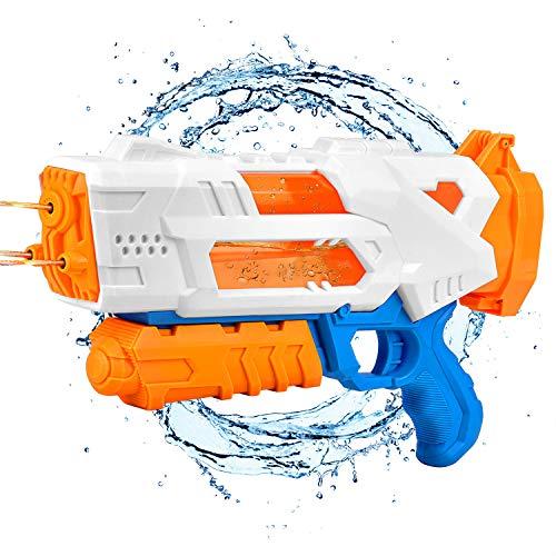 Bloranda Water Gun, Transparent Fast Fill Water Blaster 3 Nozzles for Kids High Capacity 1000CC Squirt Gun 30ft Summer Pool Toys for Kid&Adult