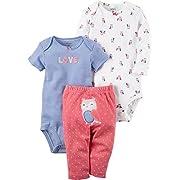 Carter's Baby Girls' 3 Piece Owl Set 3 Months Pink